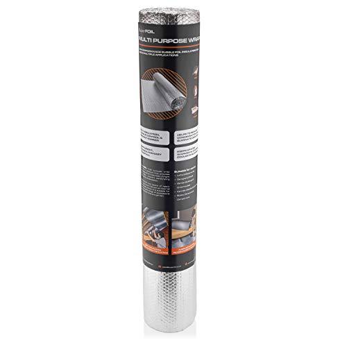 SuperFOIL Isolierfolie (1 m x 7 m) – 4 mm, doppelschichtiger Hitze-Reflektor für Wände, Böden, Dächer, Wohnmobil und Wohnwagen, 1 Rolle Aluminium-Luftpolsterfolie, silberfarben