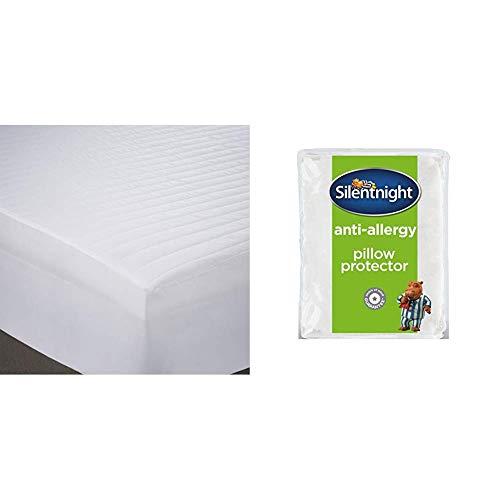 Silentnight Anti Allergy Mattress Protector Plus, White, Double  with Silentnight Anti-Allergy Pillow Protector Plus, White, Pack of 2