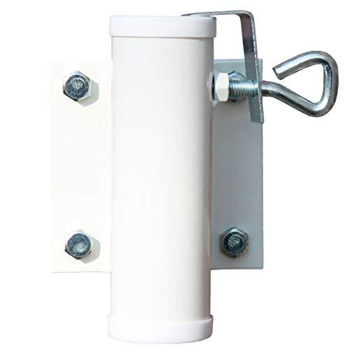 Videx Sonnenschirmhalter Wand weiß, Ø Schirmstock bis 40 mm, sehr stabil, Sonnenschirm Balkon Halterung Schirmstock Befestigung