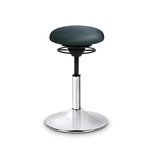 BALIMO Classic, Bürohocker, Sitzhocker, ergonomischerRücken-Trainer, Standfußchrom, Bezug dunkelgrau, mit Softpolster