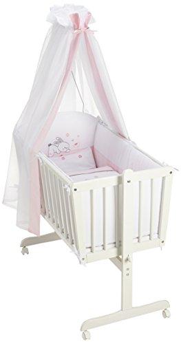 Easy Baby 882-38 Complete weegschaal met wieltjes, inclusief garnering, matras en hemelhouder, dessin Rabbit, roze/wit
