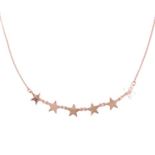 Collana con Stelle in Argento 925 Placcato Oro Rosa