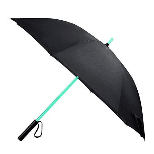 Vicloon Paraguas de Golf Paraguas con LED de Luz de la Antorcha Sable de Luz con el 7 Cambios de Color del Eje/Construido en la Antorcha en la Parte Inferior,Regalo Ideal para Hombre Mujer - Negro