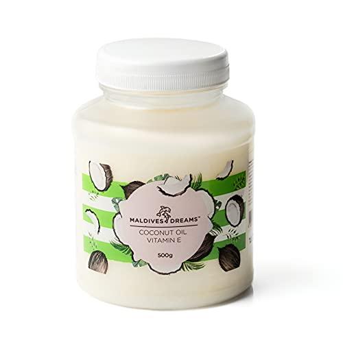 MALDIVES DREAMS® | Kokosöl für die Haare & Haut 500g | Haaröl | Natürliches Kokosnussöl | Fraktioniertes kokosöl | Hypoallergen