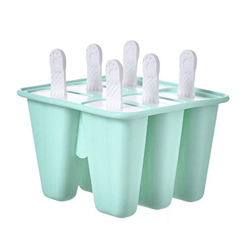 Uranbee Eisformen Silikon EIS am Stiel Formen, EIS Selbst Machen Behälter, BPA Frei, Stieleisformer Wiederverwendbar (Grün, 6 Stück)