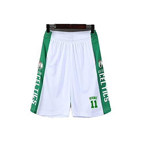 ERPA Pantalones cortos de baloncesto de talla 11 # Cěltics, transpirables y de secado rápido, pantalones cortos de entrenamiento, gimnasio, correr, verano, calle, blanco, XXXL