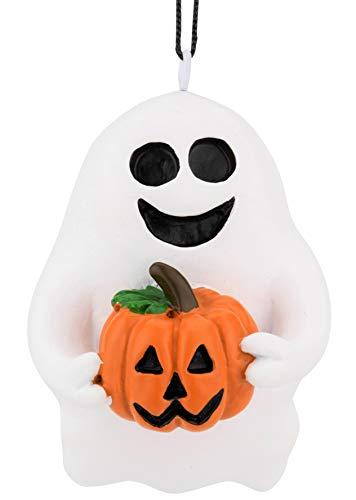 Tree Buddees Cute & Spooky Friendly Ghost Holding a Pumpkin Halloween Christmas Ornaments