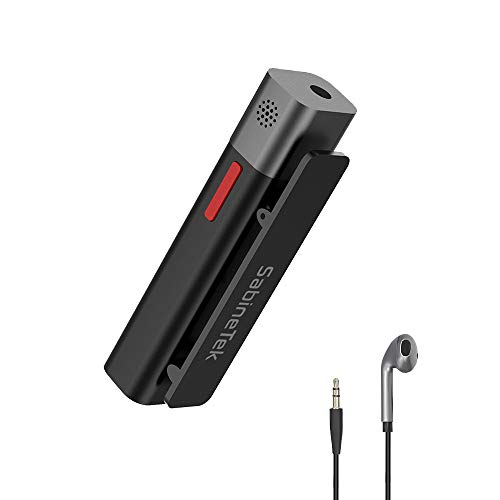 SabineTek SmartMike + Bluetooth Microphone Wireless Headphones Volg Video Radio Device (1 PCS, Schwarz)