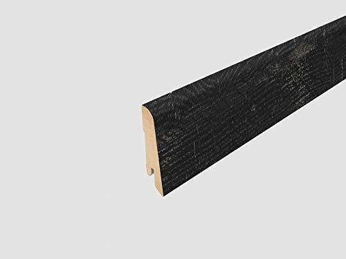 EGGER Home Sockelleiste schwarz L486 Fußleiste | Bodenleiste 2,4m passt zu EHD017 Oldham Eiche schwarz