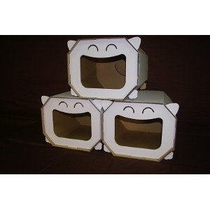 段ボールでできた猫ハウス 猫ベット にゃんハウス ボックスタイプ 3個