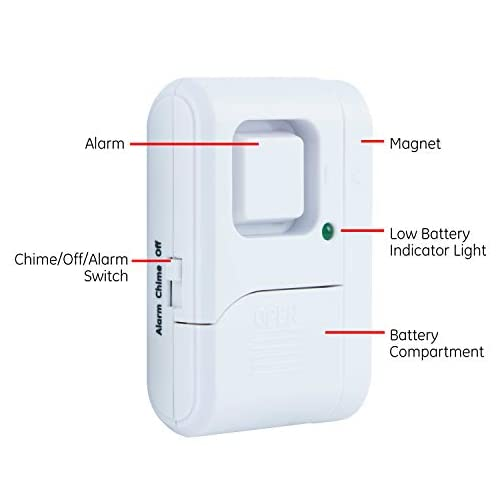 GE Personal Security Window/Door Alarm, DIY Home Protection, Burglar Alert, Magnetic Sensor, Off/Chime/Alarm, Easy Installation, Ideal for Home, Garage, Apartment, Dorm, RV and Office 5