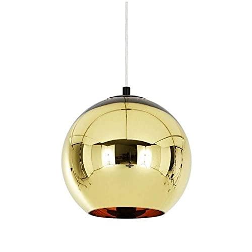 Mini Mini espejo bola E26 lámpara de araña colgante colgante luces ajustable altura retro clásico elegante colgante iluminación para comedor cocina vestíbulo de vestíbulo (Color : Oro)