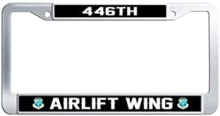 Makoncase US Air Force 446th Airlift Wing Auto License Tag Holder,Stainless Steel Auto License Tag Holder