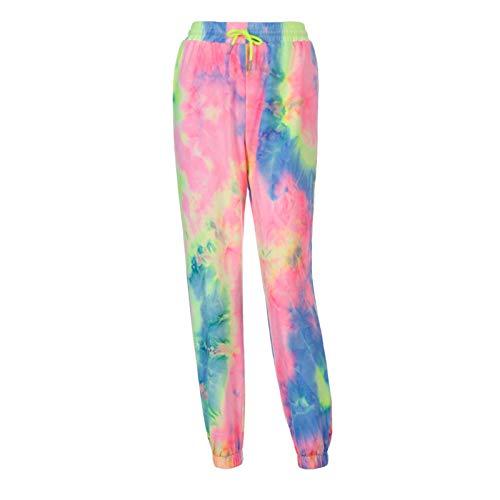 oneforus Mujer Tie Dye Impreso Pantalones Harem Cintura Alta Cordón Pantalones Deportivos Casual Workout Running Pantalones de Yoga