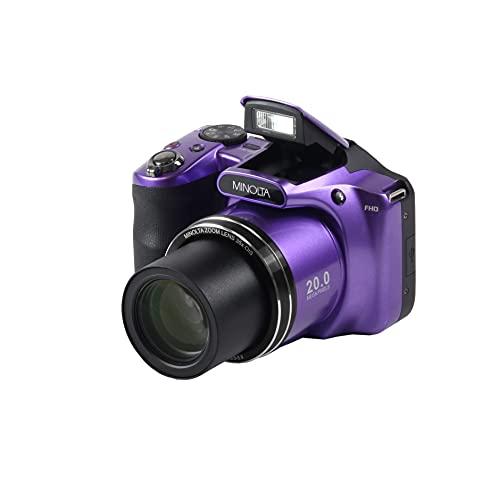 Minolta 20 Mega Pixels Wifi Digital Camera with 35x Optical Zoom & 1080p HD Video Optical with 3-Inch LCD, 4.8 x 3.4 x 3.2, Purple (MN35Z-P)