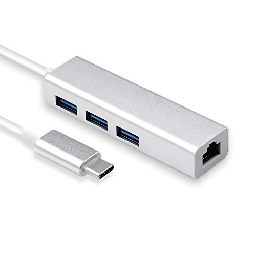 Rts USB-C/Type C to 3 Ports USB A 2.0 with 10/100/ 1000 Mbps Gigabit Ethernet/LAN/Network (RJ45) Adapter
