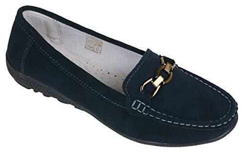 Victoria Schwarzer Comfort Damen Schuhe Mokassins/Slipper Velour-Leder (40 EU, Marine/Navy-Blue)