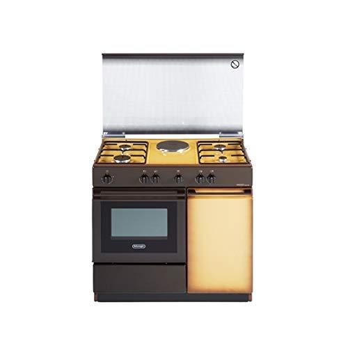 DE LONGHI Cucina Elettrica SEK 8541 N 1 Zona Cottura Elettrico e 4 Fuochi Gas Forno Elettrico Classe B Dimensioni 86 x 50 cm Colore Marrone/Giallo