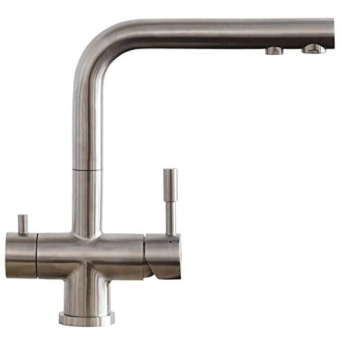 Alvito - Grifo de 3 vías de acero inoxidable y cromo, para variante de montaje B | (grifo Florencia de acero inoxidable)