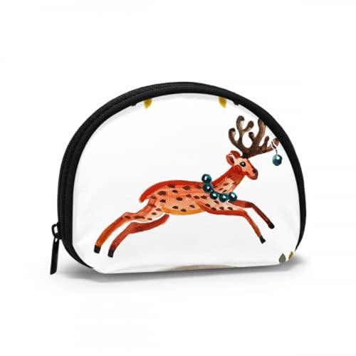 Monedero para niño Saltando Happy Fun Deer Fun Monedero Monedero Monedero Monedero con Cremallera Mini Bolsas de Maquillaje cosmético para Mujeres Niñas Regalos y Decoraciones para Fiestas