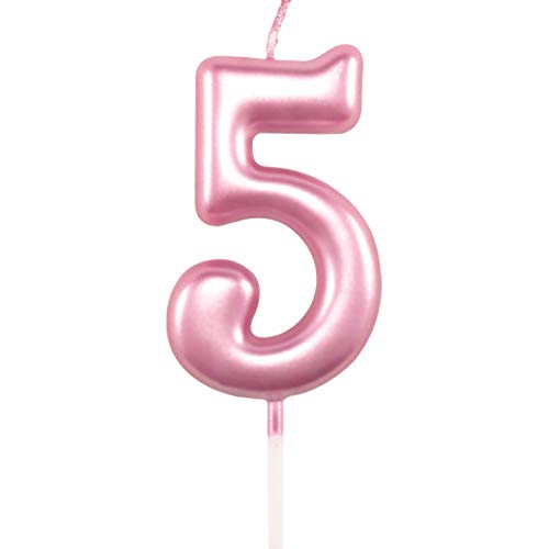 5th Birthday Candle Five Years Pink Happy Birthday Number 5 Candles for Cake Topper Decoration for Party Kids Adults Numeral 15 54 59 85 58 50 25 75