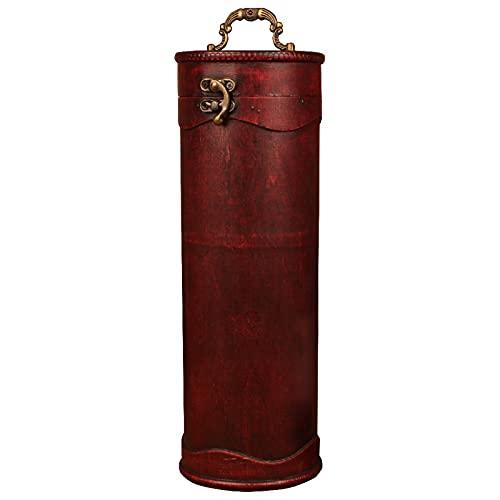 Belleashy Caja de regalo de vino vintage Archaistic Single Red Wine Box Portable Round Wood Wine Box Retro Gift Wine Storage Box Embalaje de botellas con asa para cumpleaños y ocasión especial