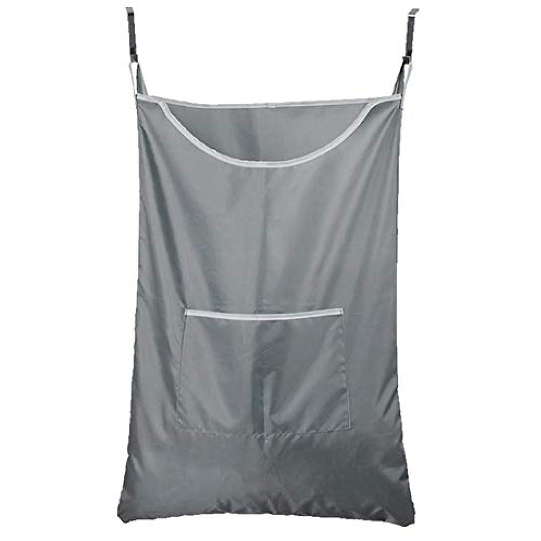 毎回翻訳通訳Kth 家庭用収納ハンギングバッグ、ドアの後ろの汚れた服のポケット、携帯用の耐久性のある衣類収納バッグ、オックスフォードの布バッグ (Color : グレー)
