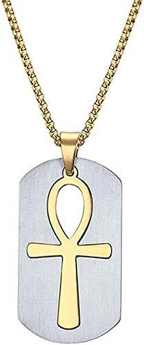 CAISHENY Collar Desmontable Collar Colgante Acero Quirúrgico Vida Cruz Egipcia Hombres Joyería Color Dorado La Llave del Nilo para Mujeres Hombres Regalos