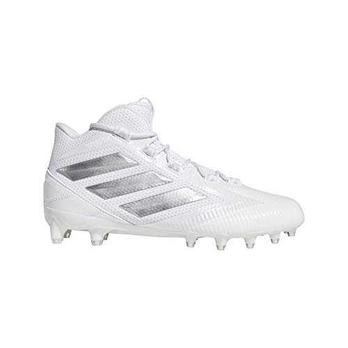 adidas Mens Freak Carbon Mid Football Cleats (6.5-M, White/Silver)