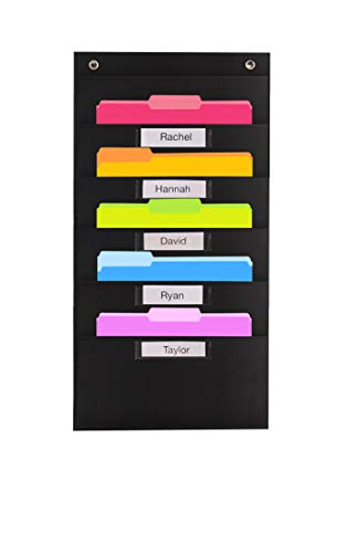 Heavy Duty Storage Pocket Chart with 5 Nametag Pockets, 3 Over Door Hangers Included, Hanging Wall File Organizer by Hippo Creation - Organize Your Assignments, Files, Scrapbook Papers & More