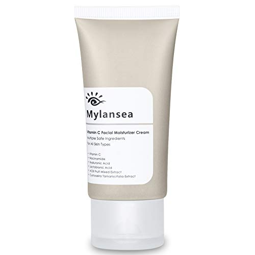 Vitamin C Moisturiser for Face, Mylansea Anti Wrinkle Face Cream with Hyaluronic Acid, Anti Aging Face Cream for Firming & Lightening & Hydrating Skin 50ml