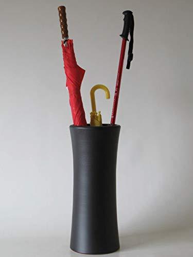 POLONIO - Paraguero de Ceramica Negro de 50 cm - Bastonero de Ceramica para Entrada y Pasillo - Jarron de Ceramica Grande Color Negro Mate.