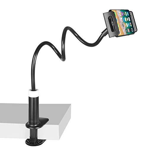 Gooseneck Mount for Phone and Tablets - Yzbytec Phone Clamp for Desk,Phone Holder for Bed,Flexible Long Arm Lazy Bracket, Adjustable Overhead Table Stand, Compatible with 3.5~12.9 inches Device(BLACK)
