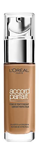 L'Oréal Paris - Fond de Teint Fluide Accord Parfait - Peaux Sèches à Normales - Teinte : Ambre Dorée (7.D) - 30...