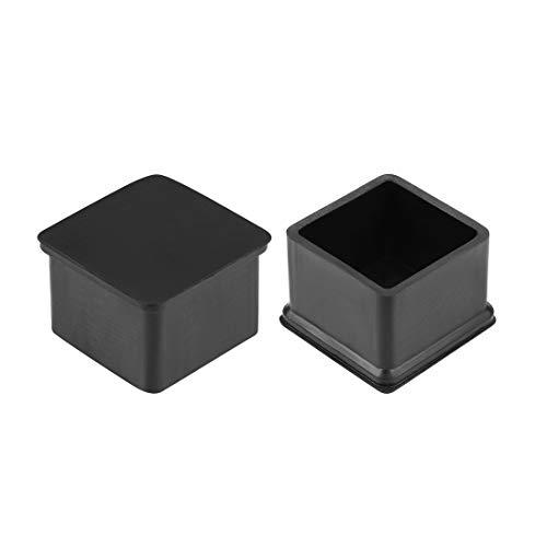 sourcing map Tapones de muebles de goma de 40mm x 40mm Cubiertas redondas de patas de Sillas Mesas 4 unidades