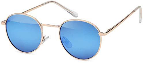 styleBREAKER Sonnenbrille in Panto-Form mit runden Flachgläsern und Metall Bügel, Unisex 09020077, Farbe:Gestell Gold / Glas Blau verspiegelt