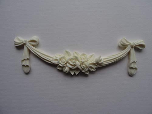 Dekorative Rose Swag Schleife Aufnäher Shabby Chic Möbel Zierleiste RSB1(Off Weiß)
