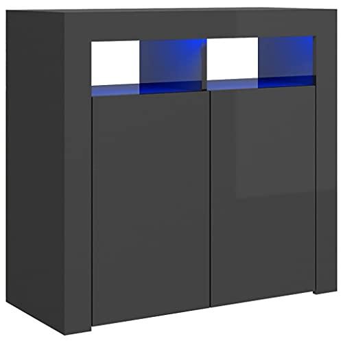 vidaXL Aparador con Luces LED Entrada Acento Pasillo Vestíbulo Recibidor Auxiliar Decoración Hogar Casa Escritorio Mueble Gris Brillante 80x35x75 cm