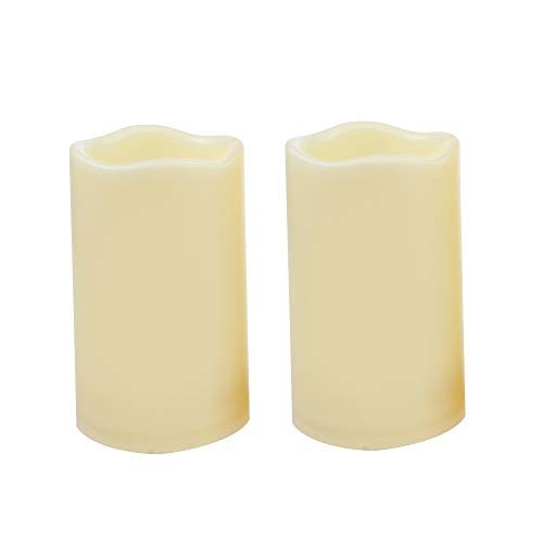 iZAN Outdoor Indoor Flameless Candles with Timer Waterproof Plastic Realistic Flickering Battery Operated LED Pillar Candles Long Lasting 1500 Hours Battery Life 3x5 inch Waved Edge 2-Pack