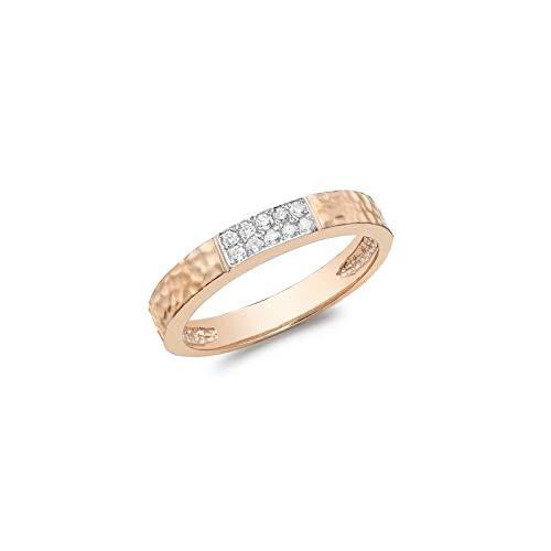 Carissima Gold Anillo Martillado para Mujer de Oro Rosa 9K (375) con Pavé de Diamantes (10 pts) - Talla 16.5