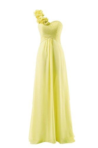 Hongfuyu Brautjungfernkleid, einseitig schulterfrei, aus Chiffon, Ballkleid, Abendkleid, lang Gr....