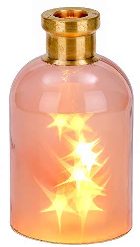 BRUBAKER Botella luminosa 'Magia' con 10 estrellas LED - 24 cm de altura - alto rosa/latón