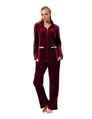 RAIKOU Damen Velours Nicki Freizeitanzug Hausanzug Schlafanzug Nicki-Anzug mit Reißverschluss und Satinband (36/38, Brombeer)
