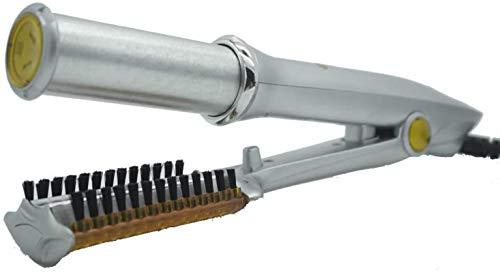 WGL Rizador de Pelo, Cepillo Caliente de Planchado Giratorio termostático Multifuncional 2 en 1, Herramienta de peluquería, Plancha de Pelo y rizador, Plateado