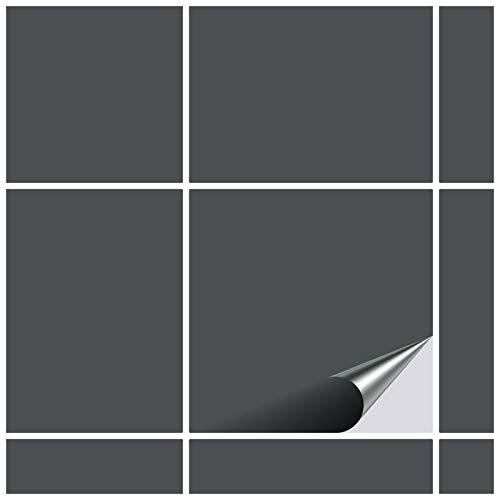 FoLIESEN Fliesenaufkleber 15x15 cm - Fliesen-Folie Bad - Klebefolie Küche - 80 Klebefliesen, Anthrazitgrau matt