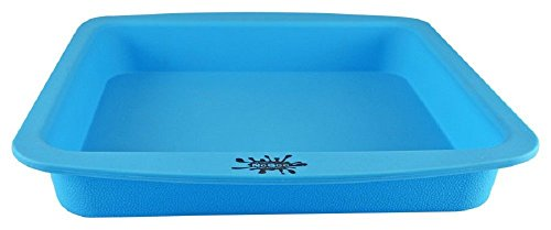 """NoGoo Deep Dish Brownie Baking Silicone Container - 8"""" x 8"""" - Assorted Colors (Blue)"""
