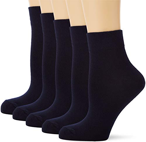 Amazon-Marke: MERAKI Damen Baumwoll Knöchelsocken 5er Packung, Blau (Navy), 36-38 EU, Label: 3-5 UK