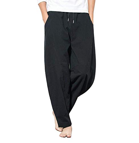 BOLAWOO-77 Hosen Männer Freizeithose Hippie Hose Modern Haremshose Streetwear Herren Mode Basic Sporthose Jogginghose Sweat Pants Trainingshose Cargohose Pumphose (Color : Schwarz, Size : L)