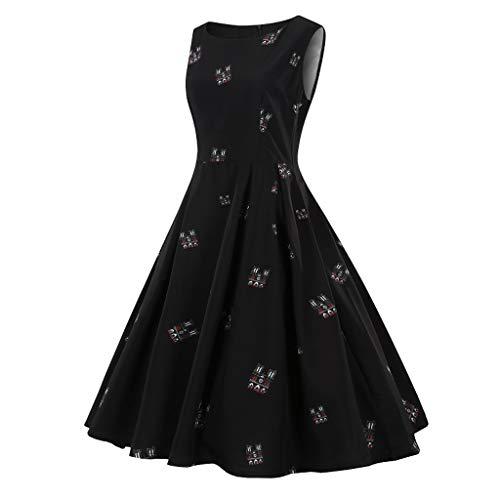 Dtuta Abendkleider Kurz Elegant FüR Hochzeit Frauen Print Vintage äRmellose Einfache Einfarbige Joker Rock LäSsig Atmungsaktiv Leichtes Kleid
