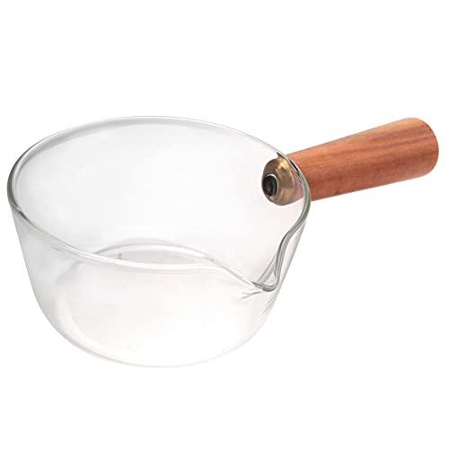 Casinlog Cazo de leche de cristal con mango de madera, 400 ml, para ensaladas, pastas, cocina de gas